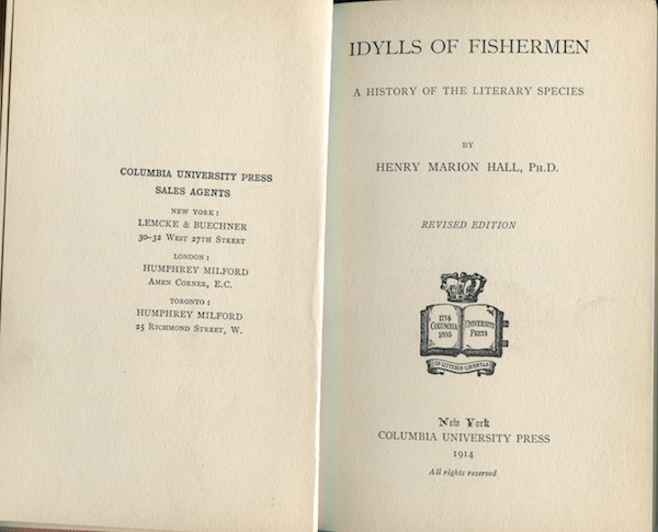 Idylls of Fishermen: A History of the Literary Species. Henry Marion Hall.