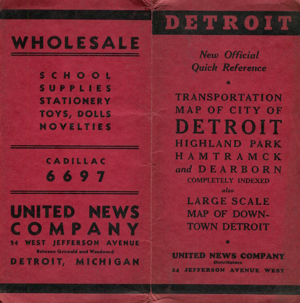 Transportation Map Of City Of Detroit, Highland Park; Hamtramck and Dearborn. United News Company.