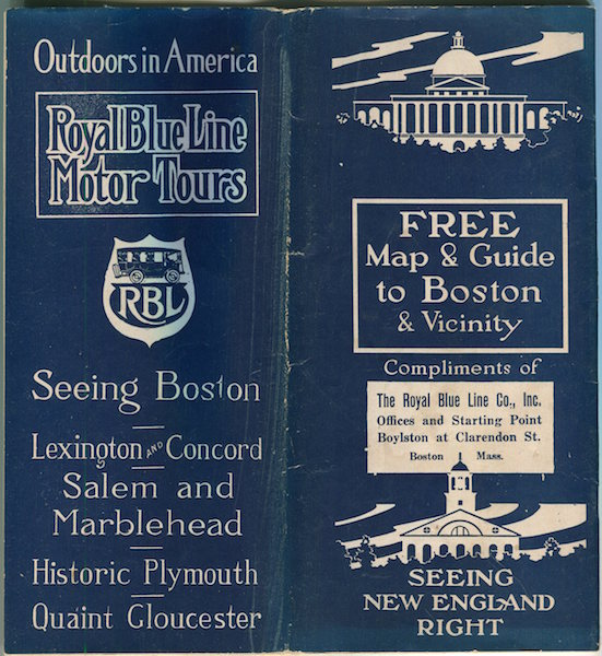 Royal Blue Lines Motor Tours; Seeing Boston, Lexington & Concord….Free Map & Guide To Boston & Vicinity …. Royal Blue Lines.