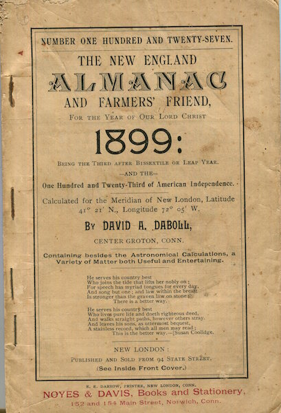The New-England Almanack, and Farmer's Friend, For The Year 1899. David A. Daboll.