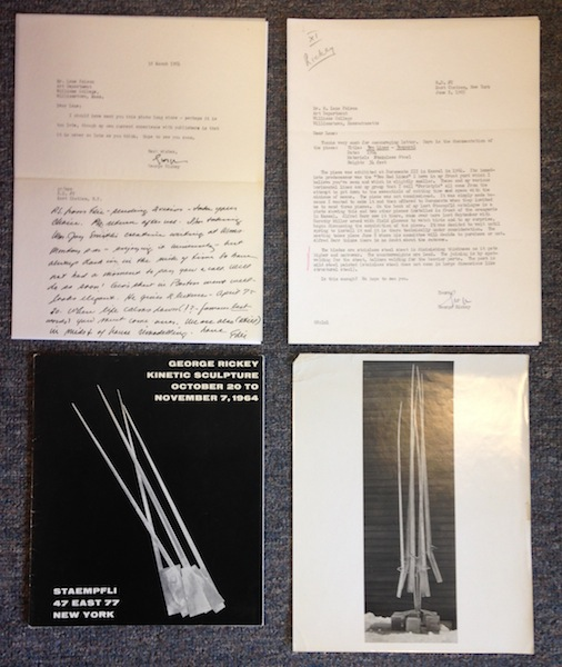 Kinetic Sculptures, with Photographs & Two Letters. George Warren Rickey, Lane Faison.