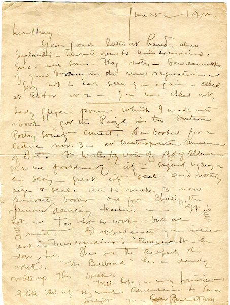 Autographed Letter Signed; Circa 1921. Berhardt Wall.