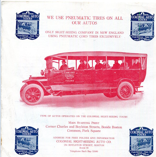 (Petroliana) Colonial Auto Tours; Free Map Of Boston…