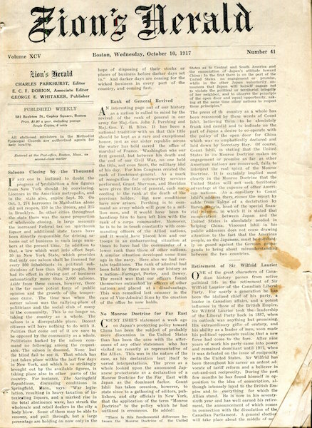 (Two Issues) Zion's Herald: Wednesday, Volume XCV Number 41, October 10, 1917 and Zion's Herald: Wednesday, Volume XCV Number 46, November 14, 1917. Charles Parkhurst, George E. Whitaker, Publisher.