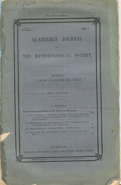 """Observations of the August Meteors in 1871 in """"The Quarterly Journal of the Meteorological Society"""" New Series, Vol. 1 Number 1; January, 1872. Alexander S. Herschel."""