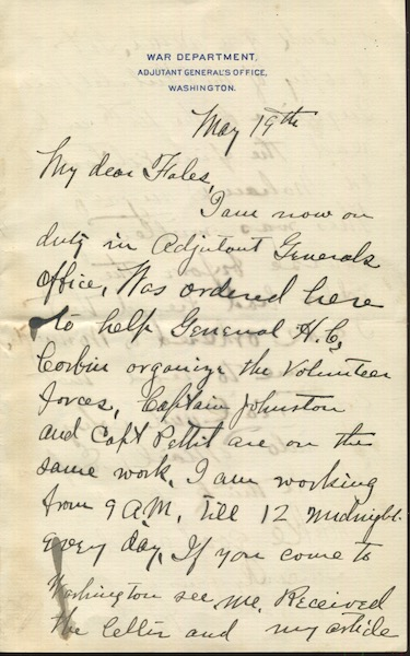 Herbert Howard Sargent. American Military Officer, Author. Autographed Letter signed, (Als). War Department, May 19, 1898. H. H. Sargent.