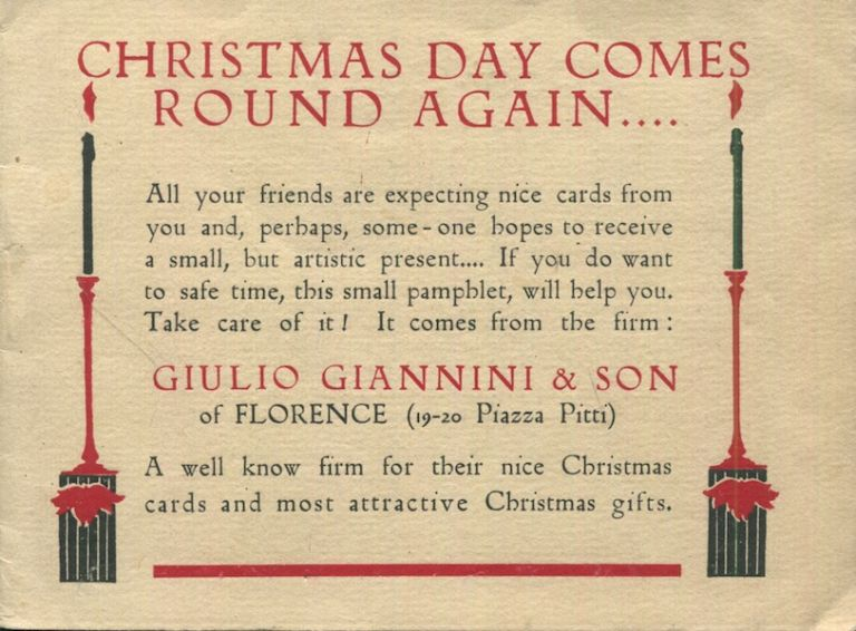 Christmas Day Comes Round Again...; A Greetings Post Card Trade catalogue. Giulio Giannini, Son.