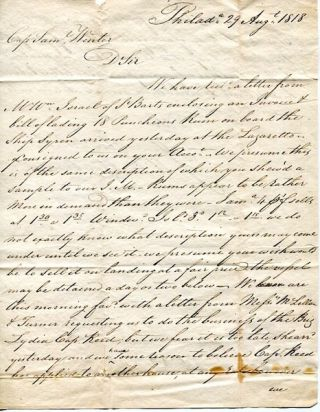 Autographed Letter, Signed (Als) to Captain Samuel Winter of Bath Maine, 1818