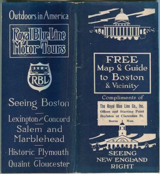 Royal Blue Lines Motor Tours; Seeing Boston, Lexington & Concord….Free Map & Guide To Boston &...