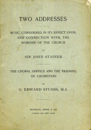 Two Addresses; Music Considered In Its Effect Upon, And Connection With, The Worship Of The...
