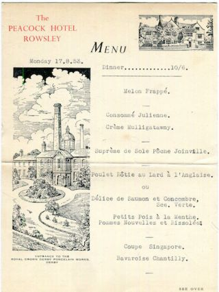 Culinary) Rowsley. The Peacock Hotel, The Menu, 1953