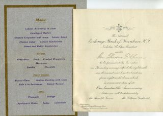 (Menu) National Exchange Bank Of Providence, One Hundredth Anniversary Dinner, Trocadero, April 18, 1901; Menu