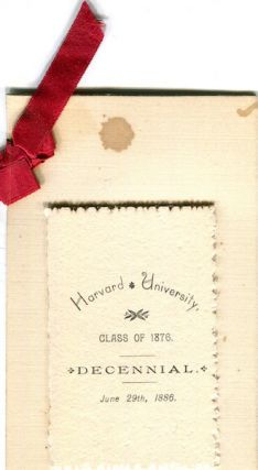 (Menu) Harvard University Class Of 1876 Decennial June 29, 1886 Dinner at Beckman & Punchard at the Parker House, Boston