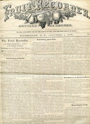 Industry Newspaper) The Fruit Recorder & Cottage Gardener, October 1, 1885