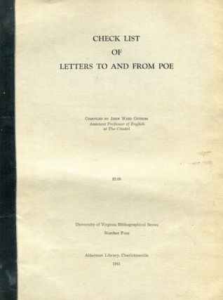 Check List Of Letters To And From Poe. John Ward Ostrom