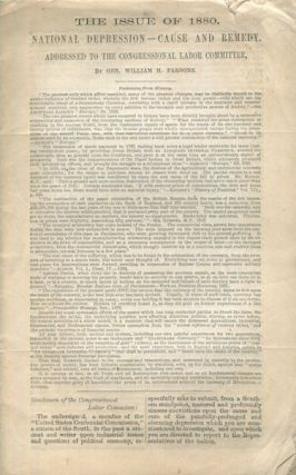 The Issue Of 1880. National Depression - Cause And Remedy Addressed To The Congressional Labor...