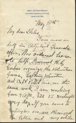 Herbert Howard Sargent. American Military Officer, Author. Autographed Letter signed, (Als). War...