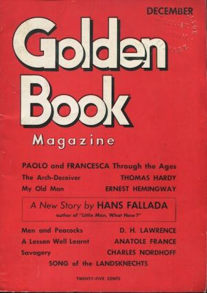 My Old Man / Golden Book Magazine. Ernest Hemingway