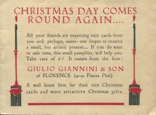 Christmas Day Comes Round Again...; A Greetings Post Card Trade catalogue. Giulio Giannini, Son